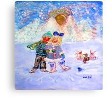 Skaters in Love Decor & Gift by Marie-Jose Pappas Blue Canvas Print