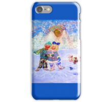 Skaters in Love Decor & Gift by Marie-Jose Pappas Blue iPhone Case/Skin