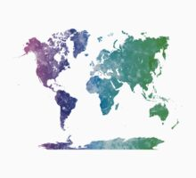 World map in watercolor multicolored T-Shirt