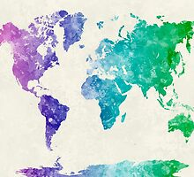 World map in watercolor multicolored by paulrommer