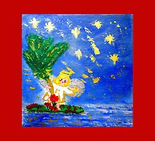Angel in the Tropics Designer Art Decor & Gifts Red by innocentorigina