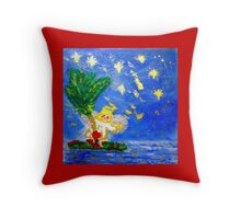 Angel in the Tropics Designer Art Decor & Gifts Red Throw Pillow