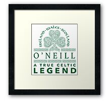 Celtic-Inspired 'O'Neill, A True Celtic Legend' Last Name TShirt, Accessories and Gifts Framed Print