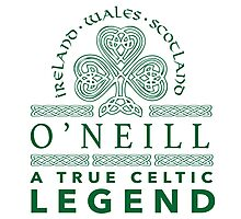Celtic-Inspired 'O'Neill, A True Celtic Legend' Last Name TShirt, Accessories and Gifts Photographic Print
