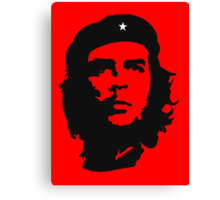 Che Guevara, Revolution, Marxist, Revolutionary, Cuba, Power to the people! Black on Red Canvas Print