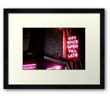 Brick Lane, open till late Framed Print
