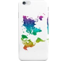 World map in watercolor rainbow iPhone Case/Skin