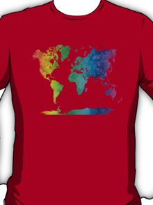 World map in watercolor rainbow T-Shirt