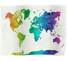 World map in watercolor rainbow Poster