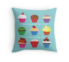 Where There Is Cake (BLUE) Throw Pillow
