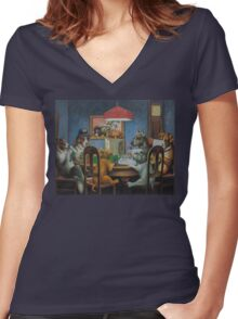 Dogs Playing D&D Women's Fitted V-Neck T-Shirt