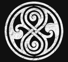 Seal of Rassilon - Classic Doctor Who - White on Black (Distressed) by createdezign