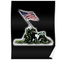 American War Flag, USA, Raising the Colours, Iwo Jima, America, Americana, WW2, WWII Poster