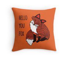 Hello You Fox Throw Pillow