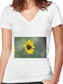 Yellow and Black Women's Fitted V-Neck T-Shirt