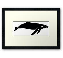 Humpback Whale Silhouette (Black) Framed Print