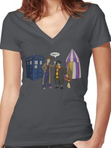 Smaller on the Outside Women's Fitted V-Neck T-Shirt