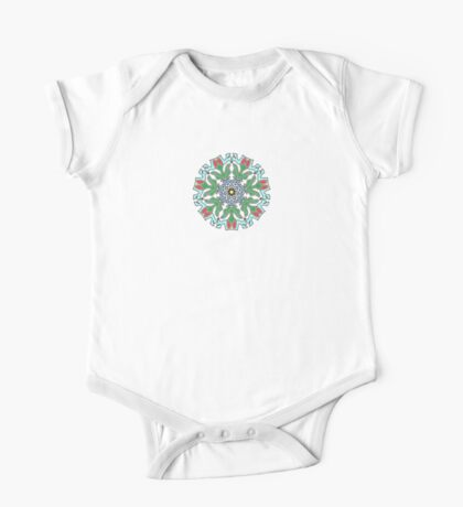Tulips Around Blue Flower One Piece - Short Sleeve