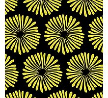 Yellow daisies on black background pattern Photographic Print