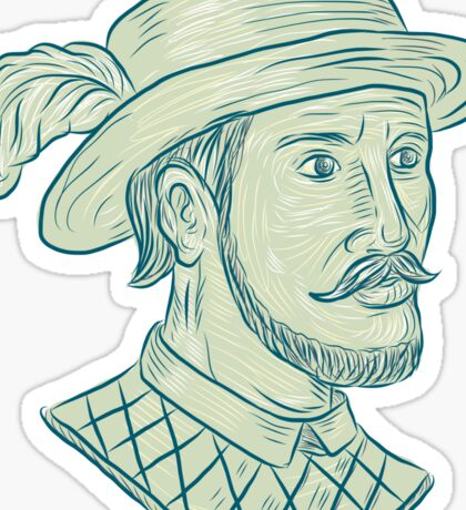 Juan Ponce de Leon Explorer Drawing Sticker