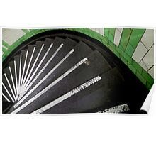 Spiral Green and White Poster