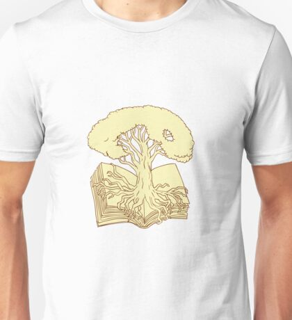 Oak Tree Rooted on Book Drawing Unisex T-Shirt
