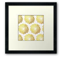 gold daisies pattern on White background  Framed Print