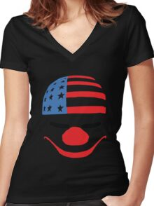 PayDay American Flag Mask Women's Fitted V-Neck T-Shirt