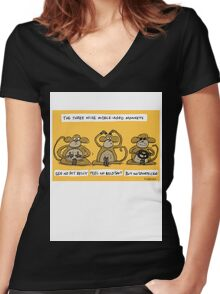 the three wise middle aged monkeys Women's Fitted V-Neck T-Shirt