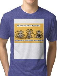 the three wise middle aged monkeys Tri-blend T-Shirt