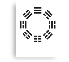 I Ching symbol, Book of Changes, Black on White Canvas Print