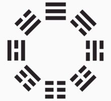 I Ching symbol, Book of Changes, Black on White by TOM HILL - Designer