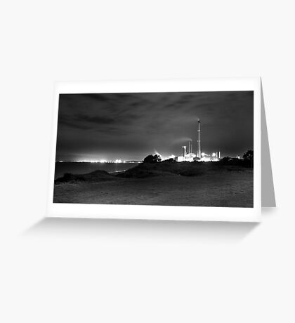 Kwinana Power Station At Night (B&W)  Greeting Card
