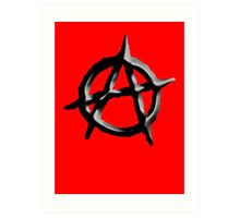 ANARCHY, Revolution, Protest, Disorder, Unrest, Symbol on red in black Art Print