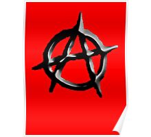 ANARCHY, Revolution, Protest, Disorder, Unrest, Symbol on red in black Poster