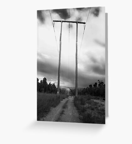 Powerlines Track Greeting Card