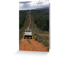 Driving The Powerlines Track Greeting Card