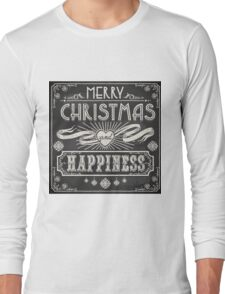 Merry Christmas Vintage Blackboard Long Sleeve T-Shirt