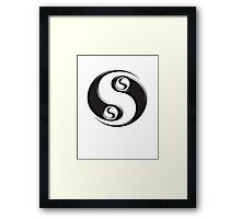 YIN YANG twist, Chinese, Martial Arts Symbol, Black on White Framed Print