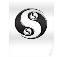 YIN YANG twist, Chinese, Martial Arts Symbol, Black on White Poster