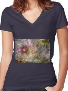 Flower Print Women's Fitted V-Neck T-Shirt