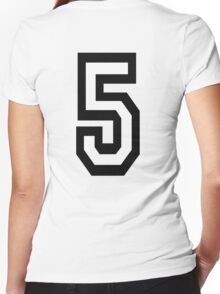 5, TEAM, SPORTS, NUMBER 5, FIFTH, FIVE, Competition,  Women's Fitted V-Neck T-Shirt