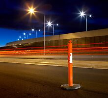 Bollard at night by John Jovic