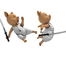Katana Fight Between Two Piglets by Mythos57
