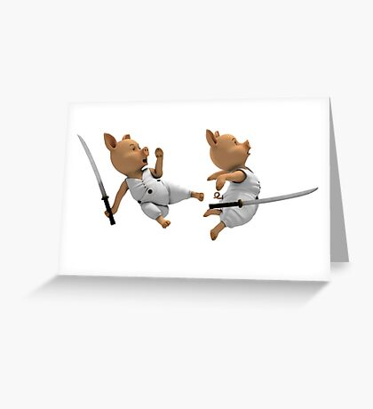 Katana Fight Between Two Piglets Greeting Card
