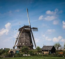 Picturesque landscape with windmills by enolabrain