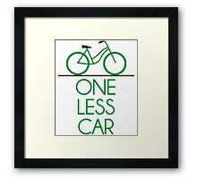 One Less Car Earth Friendly Bicycle Framed Print