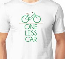 One Less Car Earth Friendly Bicycle Unisex T-Shirt