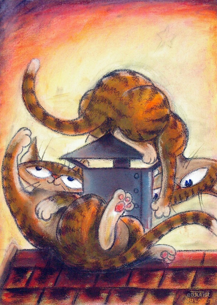 Roof Top Cats - Left Panel by etourist