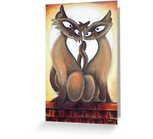 Roof Top Cats - Middle Panel Greeting Card